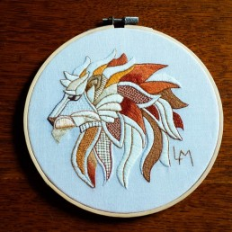 embroidered lion